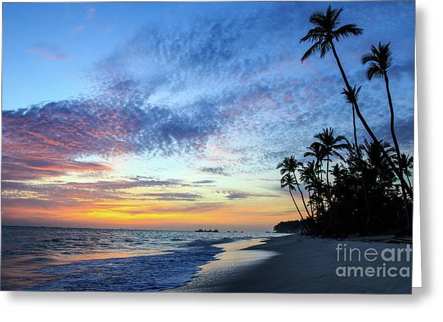 Tropical Island Sunrise Greeting Card