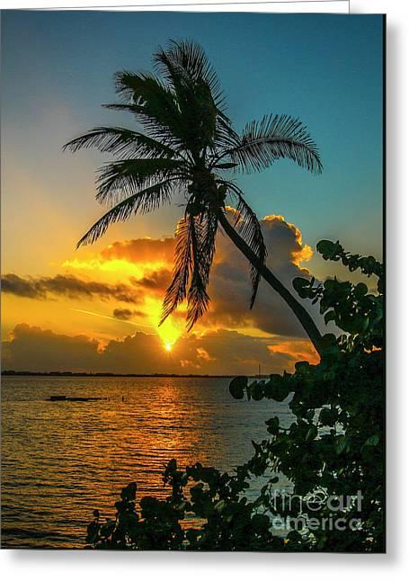 Tropical Lagoon Sunrise Greeting Card