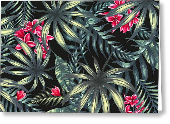 Tropical Leaf Pattern  Greeting Card by Stanley Wong