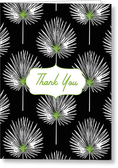Tropical Leaf Thank You Black- Art By Linda Woods Greeting Card by Linda Woods
