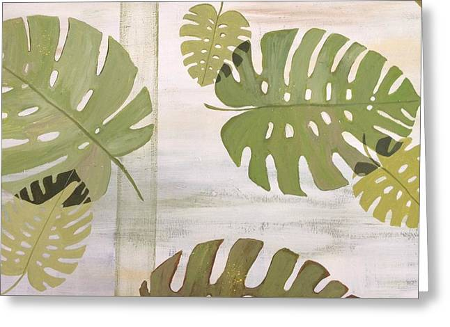 Tropical Leaves  Greeting Card by Laura Parrish