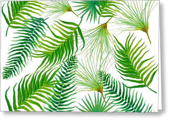 Tropical Leaves And Ferns Greeting Card by Jan Matson