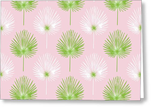 Tropical Leaves On Pink 2- Art By Linda Woods Greeting Card by Linda Woods