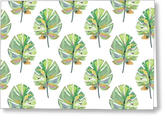 Tropical Leaves On White- Art By Linda Woods Greeting Card