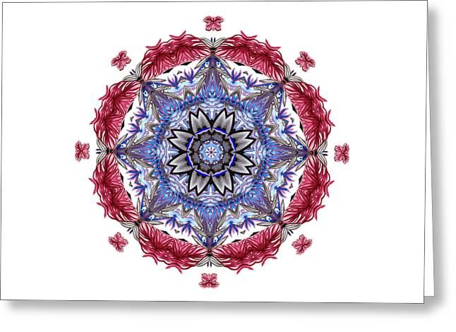 Greeting Card featuring the digital art Tropical Mandala By Kaye Menner by Kaye Menner