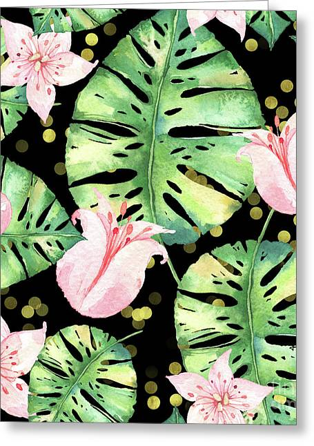Tropical Monstera And Pink Tulip Pattern Greeting Card by Tina Lavoie
