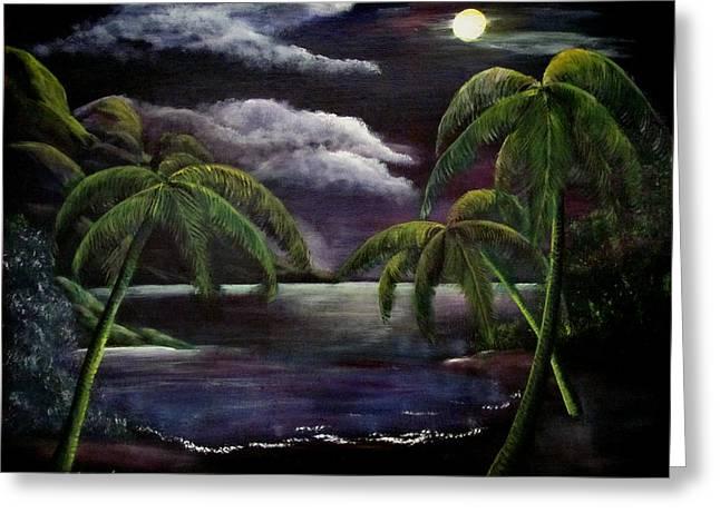 Tropical Moonlight Greeting Card