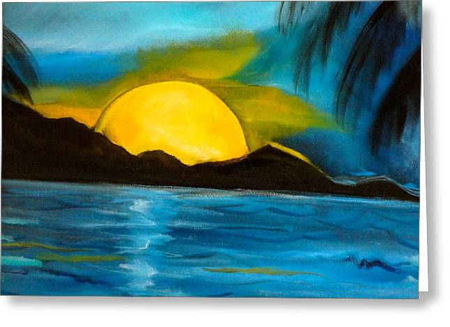 Tropical Moonshine Greeting Card by Jenny Lee