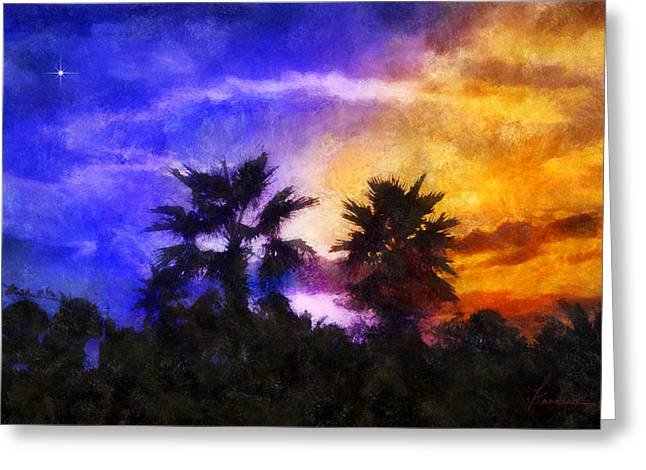 Tropical Night Fall Greeting Card by Francesa Miller