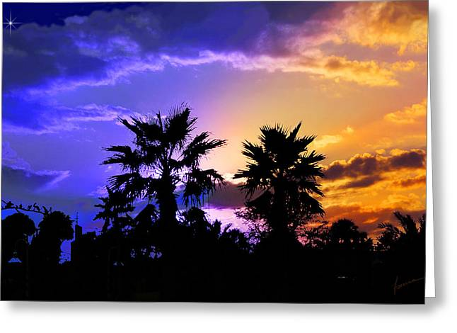 Tropical Nightfall Greeting Card by Francesa Miller