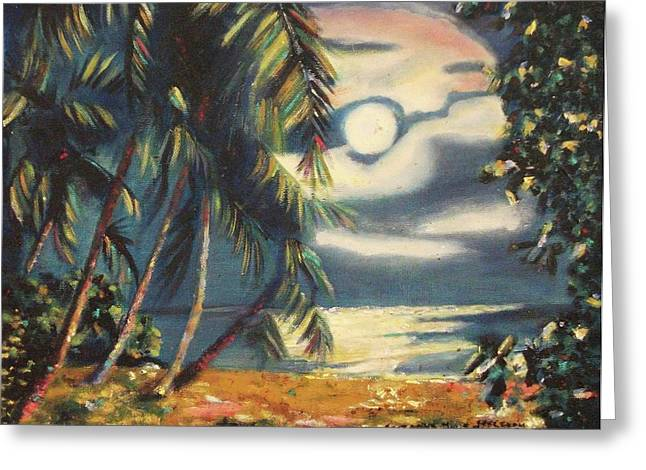 Suzanne Marie Molleur Paintings Greeting Cards - Tropical Nights Greeting Card by Suzanne  Marie Leclair
