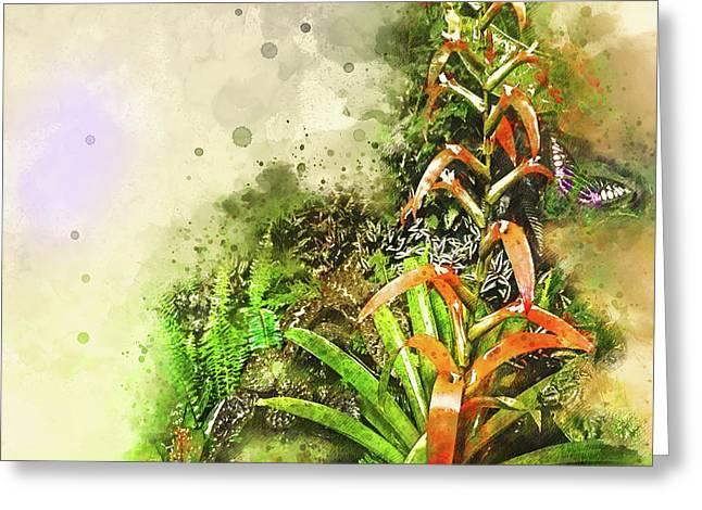 Tropical Orange Greeting Card by Deborah Nakano