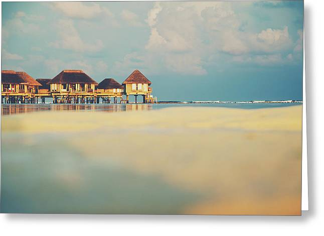 Tropical Overwater Bungalow Resort Maldives Greeting Card