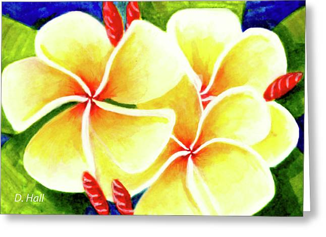 Tropical Plumeria Flowers #226 Greeting Card by Donald k Hall