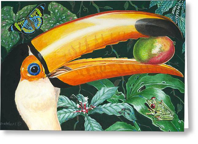Mango Paintings Greeting Cards - Tropical Rain Forest Toucan Greeting Card by Richard De Wolfe
