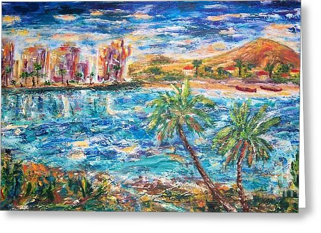Tropical Resort Greeting Card by Mary Sedici