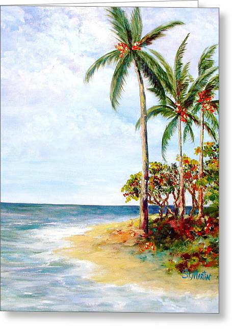 Tropical Retreat And Sandy Feet Greeting Card by Annie St Martin