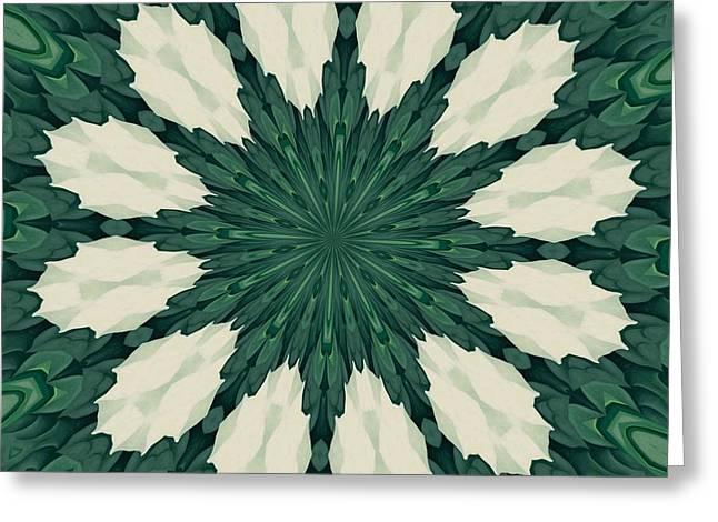 Tropical Sacramento Green And Silver Leaf Mandala Greeting Card by Tracey Harrington-Simpson