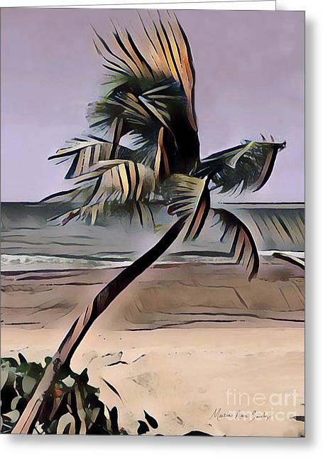 Greeting Card featuring the digital art Tropical Seascape Digital Art A7717  by Mas Art Studio