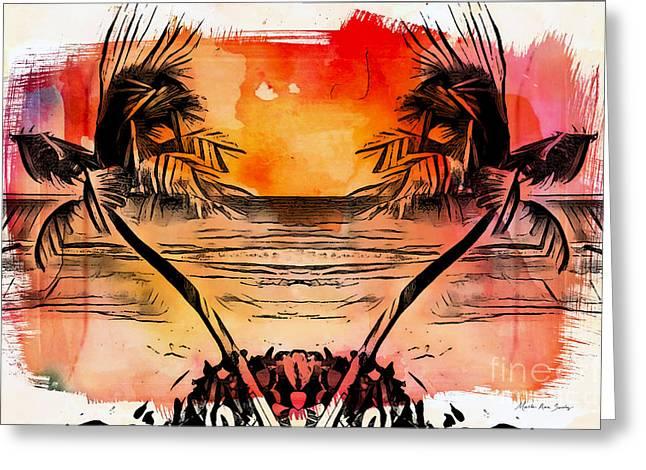 Greeting Card featuring the digital art Tropical Seascape Digital Art C7717 by Mas Art Studio