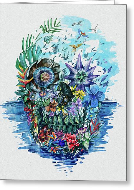 Tropical Skull 2 Greeting Card