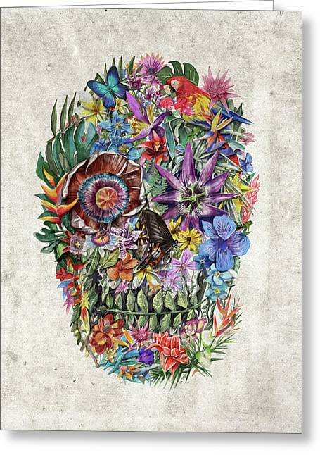 Tropical Skull Greeting Card by Bekim Art