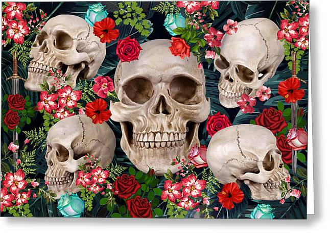 Tropical Skull  Greeting Card by Mark Ashkenazi