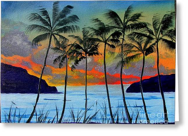 Tropical Sunset Greeting Card by Inna Montano