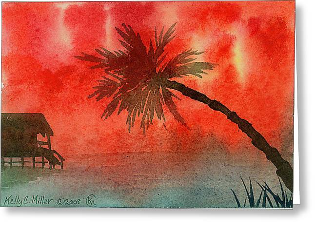 Tropical Sunset Greeting Card by Kelly Miller