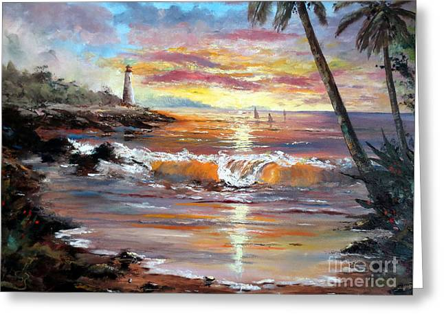 Recently Sold -  - Ocean Panorama Greeting Cards - Tropical Sunset Greeting Card by Lee Piper