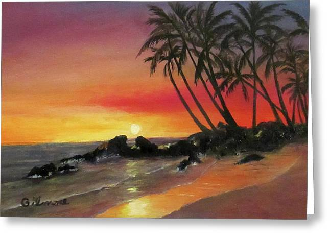 Tropical Sunset Greeting Card by Roseann Gilmore