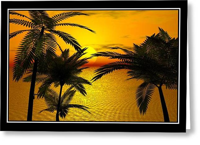 Abstract Rain Greeting Cards - Tropical sunset Greeting Card by William  Ballester
