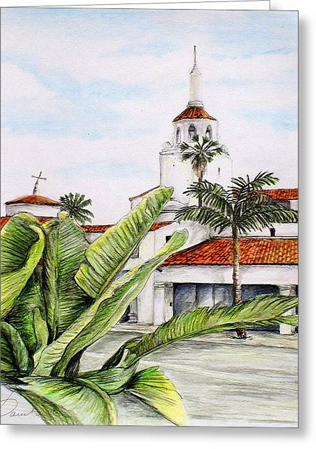 Tropical View Arlington Theater Santa Barbara Greeting Card