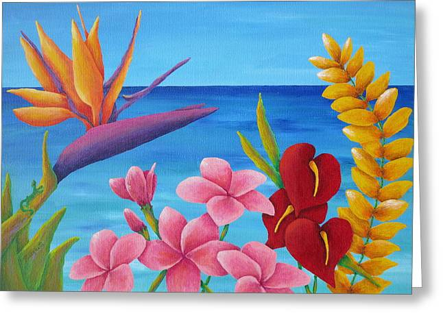 Tropical View Greeting Card by Pamela Allegretto