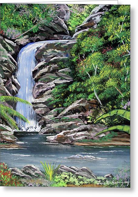 Tropical Waterfall 2 Greeting Card by Luis F Rodriguez