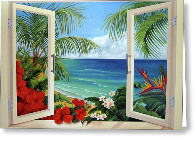Tropical Window Greeting Card by Katia Aho