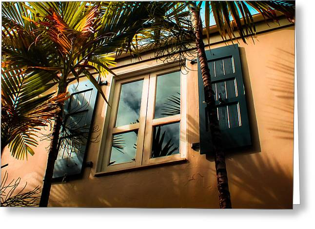 Tropical Window Reflections Greeting Card by Karen Wiles