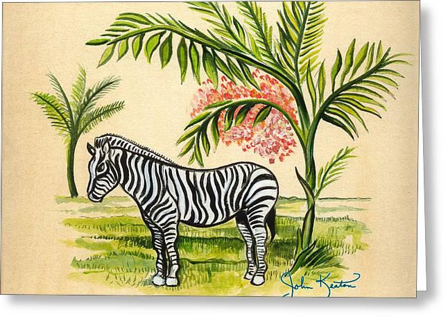 Tropical Zebra Greeting Card by John Keaton