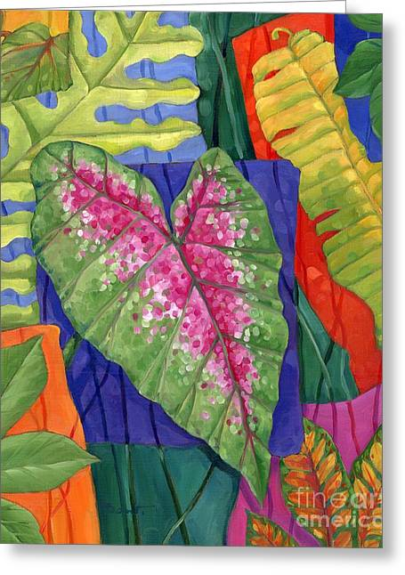 Tropicana Leaves I Greeting Card by Paul Brent
