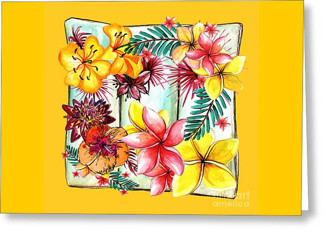 Tropicana On Yellow By Kaye Menner Greeting Card
