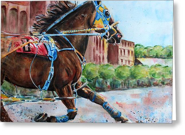 trotter standardbred Horse at the Little Brown Jug Greeting Card by Maria's Watercolor