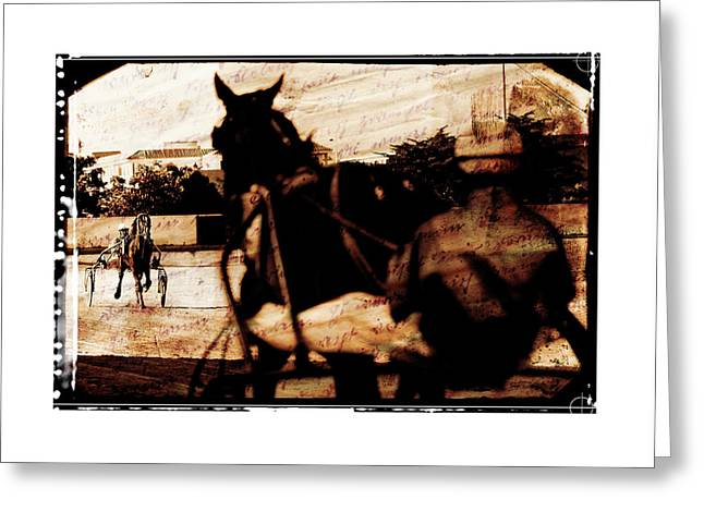 Greeting Card featuring the photograph trotting 1 - Harness racing in a vintage post processing by Pedro Cardona