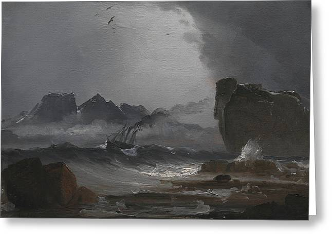 Troubled Sea With A Steamer Near The Norwegian Coast Greeting Card