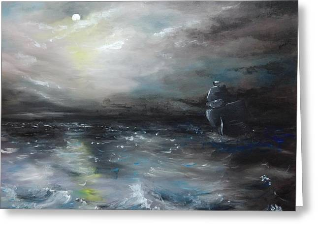 Greeting Card featuring the painting Troubled Waters by Isabella F Abbie Shores FRSA