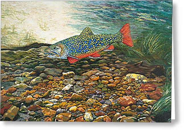 Trout Art Fish Art Brook Trout Suspended Artwork Giclee Fine Art Print Greeting Card by Baslee Troutman