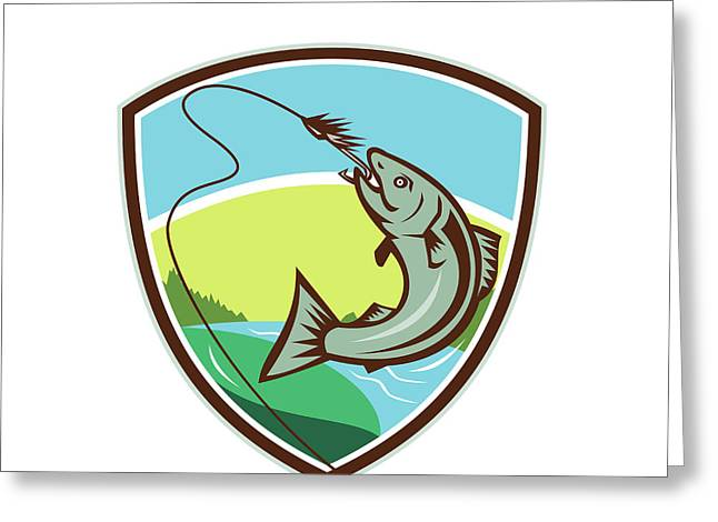 Trout Biting Hook Lure Shield Retro Greeting Card