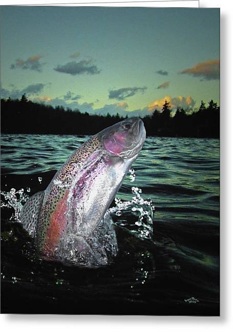 Trout Bum Paradise Greeting Card by Brian Pelkey
