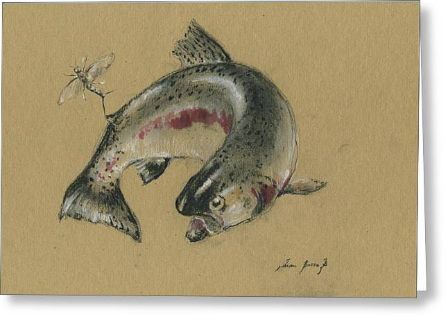 Trout Eating Greeting Card