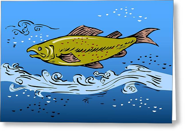 Speckled Trout Greeting Cards - Trout Fish Swimming Underwater Greeting Card by Aloysius Patrimonio