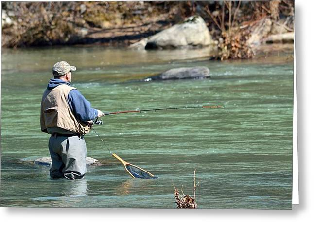 Trout Fishing Greeting Card by Todd Hostetter